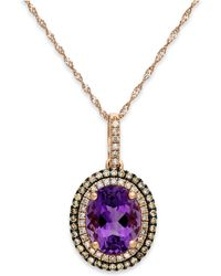 Macy's - Amethyst (2-1/4 Ct. T.w.) And Diamond (1/3 Ct. T.w.) Pendant Necklace In 14k Rose Gold - Lyst