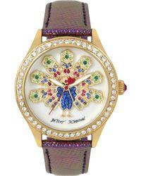 Betsey Johnson - Women's Purple Leather Strap Watch 42mm Bj00517-47 - Lyst