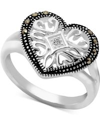 Macy's - Marcasite & Crystal Filigree Heart Ring In Fine Silver Plate - Lyst