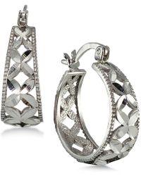 Giani Bernini - Sterling Silver Flower Hoop Earrings - Lyst