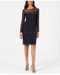 Adrianna Papell - Embellished Illusion Sheath Dress - Lyst
