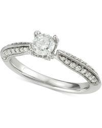 Marchesa - Diamond Milgrain Engagement Ring (7/8 Ct. T.w.) In 18k White Gold - Lyst
