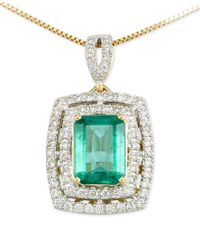 Rare Featuring Gemfields - Certified Emerald (1-1/5 Ct. T.w.) And Diamond (1/4 Ct. T.w.) Pendant Necklace In 14k Gold - Lyst