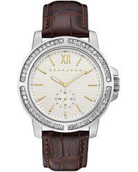 Sean John - Men's Venice Brown Genuine Leather Strap Watch 45mm - Lyst