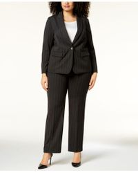 Tahari - Plus Size Pinstriped One-button Pantsuit - Lyst