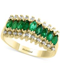 Effy Collection - Emerald (7/8 Ct. T.w.) And Diamond (1/5 Ct. T.w.) Ring In 14k Gold - Lyst