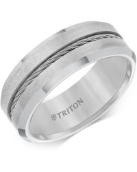 Macy's - Men's Cable Detail Comfort Fit Band In Tungsten Carbide - Lyst