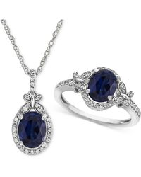 Macy's - Lab Created Sapphire (2-1/2 Ct. T.w.) & White Sapphire (3/4 Ct. T.w.) Pendant Necklace & Ring In Sterling Silver - Lyst