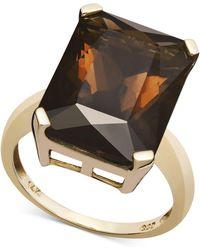 Macy's - 14k Gold Ring, Smokey Quartz (9-1/2 Ct. T.w.) - Lyst