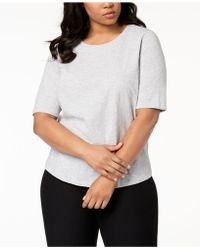 Eileen Fisher - Plus Size System Organic Cotton Elbow-sleeve T-shirt - Lyst