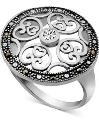 Macy's - Marcasite & Crystal Openwork Ring In Fine Silver-plate - Lyst