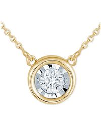 "Macy's - Diamond Bezel 16"" Pendant Necklace (1/8 Ct. T.w.) - Lyst"