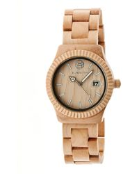 Earth Wood - Pith Wood Bracelet Watch W/date Khaki 40mm - Lyst