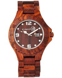 Earth Wood - Raywood Wood Bracelet Watch W/date Red 47mm - Lyst