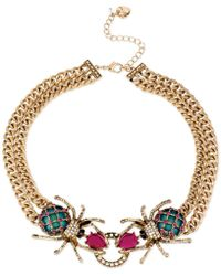 Betsey Johnson - Gold-tone Spider Frontal Necklace - Lyst