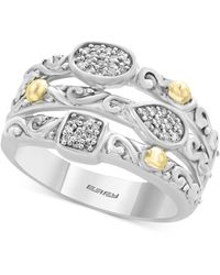 Effy Collection - Balissima By Effy® Diamond Stack-look Cluster Ring (1/8 Ct. T.w.) In Sterling Silver & 18k Gold - Lyst
