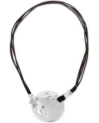 Robert Lee Morris - Silver-tone Leather Hammered Disc Pendant Necklace - Lyst