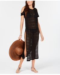 Calvin Klein - Crochet Striped Cold-shoulder Cover-up - Lyst
