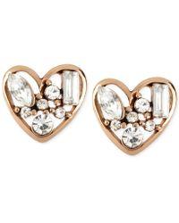 Betsey Johnson | Rose Gold-tone Crystal Heart Stud Earrings | Lyst