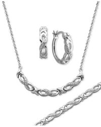 Macy's - Diamond Accent Infinity Hoop Earrings, Collar Necklace And Link Bracelet Set In Silver-plate - Lyst