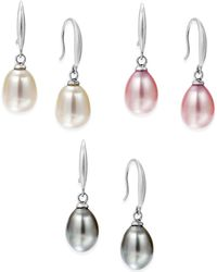 Macy's - Cultured Freshwater Pearl Earring Set In Sterling Silver (7-1/2mm) - Lyst
