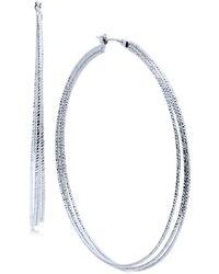 Nine West - Silver-tone Triple-row Hoop Earrings - Lyst