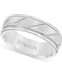 Triton Flat Satin Finish Band In Tungsten Carbide - White