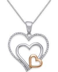 Macy's - Diamond Nested Heart Pendant Necklace (1/10 Ct. T.w.) In Sterling Silver And 14k Gold - Lyst