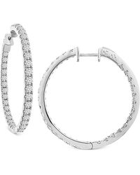 Macy's | Diamond In And Out Hoop Earrings (7 Ct. T.w.) In 14k White Gold | Lyst