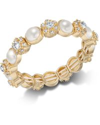 Charter Club - Gold-tone Crystal & Imitation Pearl Stretch Bracelet, Created For Macy's - Lyst