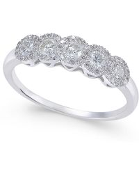 Macy's | Diamond Five-stone Halo Ring (1/2 Ct. T.w.) In 14k White Gold | Lyst