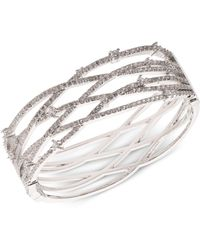 Carolee Silver-tone Pavé Openwork Cuff Bracelet