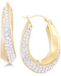 Signature Gold - Swarovski Crystal Hoop Earrings In 14k Gold Over Resin - Lyst