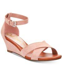Callisto - Strobe Crisscross Wedge Sandals - Lyst
