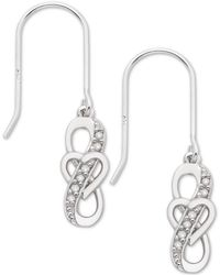 Macy's - Diamond Heart Drop Earrings (1/10 Ct. T.w.) In Sterling Silver - Lyst