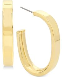 Hint Of Gold - Polished Hoop Earrings In Gold-plate - Lyst