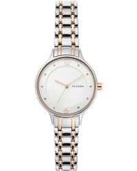Skagen - Anita Two-tone Stainless Steel Rose Gold-tone Stainless Steel  Bracelet Watch 2d1bafb0d52
