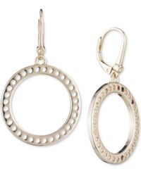 DKNY - Perforated Open Circle Drop Earrings - Lyst