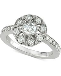 Marchesa - Diamond Floral Engagement Ring (1 Ct. T.w.) In 18k White Gold - Lyst