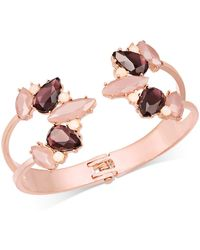 INC International Concepts - Rose Gold-tone Colored Crystal Hinged Cuff Bracelet - Lyst