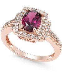 Macy's - Rhodolite Garnet (1-1/5 Ct. T.w.) And Diamond (1/3 Ct. T.w.) Ring In 14k Rose Gold - Lyst