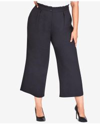City Chic - Trendy Plus Size Frilled Wide-leg Pants - Lyst