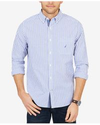 Nautica - Big & Tall Classic Fit Vertical Stripe Long Sleeve Shirt - Lyst
