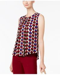 Nine West | Printed Pleated-front Shell | Lyst