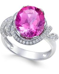 Macy's - Pink Topaz (4-9/10 Ct. T.w.) And White Topaz (1/3 Ct. T.w.) Ring In Sterling Silver - Lyst