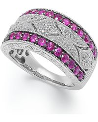 Macy's | Ruby (5/8 Ct. T.w.) And Diamond Accent Antique Band In Sterling Silver | Lyst