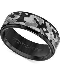 Triton - Laser-engraved Camo Band In Black Tungsten Carbide - Lyst