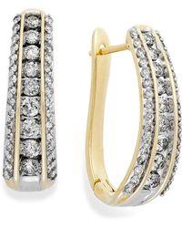 Macy's - Diamond Channel J-hoop Earrings In 14k White Gold (1 Ct. T.w.) - Lyst
