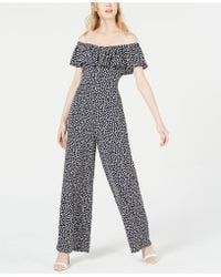 Betsey Johnson - Printed Off-the-shoulder Jumpsuit - Lyst