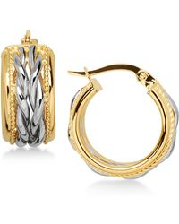 Macy's - Two-tone Braided Hoop Earrings In 14k Gold And White Gold - Lyst
